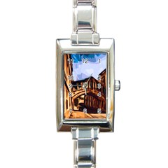 Street Architecture Building Rectangle Italian Charm Watch