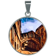 Street Architecture Building 30mm Round Necklace by Pakrebo