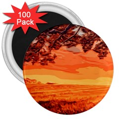 Field Sunset Orange Sky Land 3  Magnets (100 Pack)