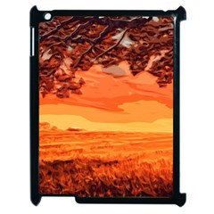 Field Sunset Orange Sky Land Apple Ipad 2 Case (black) by Pakrebo