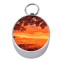 Field Sunset Orange Sky Land Mini Silver Compasses