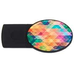 Texture Background Squares Tile Usb Flash Drive Oval (2 Gb)