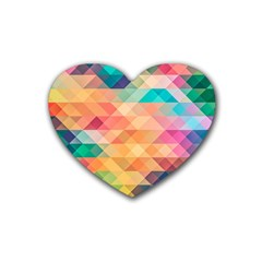 Texture Background Squares Tile Heart Coaster (4 Pack)