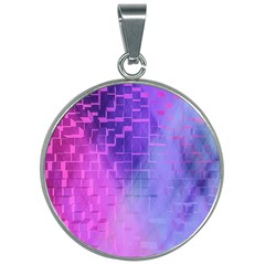 Texture Cell Cubes Blast Color 30mm Round Necklace