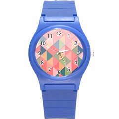 Background Geometric Triangle Round Plastic Sport Watch (s)