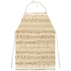 Vintage Beige Music Notes Full Print Aprons by Pakrebo