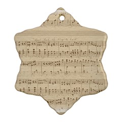 Vintage Beige Music Notes Snowflake Ornament (two Sides) by Pakrebo