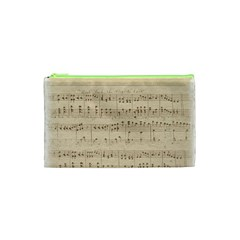Vintage Beige Music Notes Cosmetic Bag (xs)