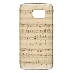 Vintage Beige Music Notes Samsung Galaxy S6 Hardshell Case  by Pakrebo