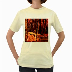 Forest Autumn Trees Trail Road Women s Yellow T Shirt