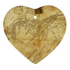 Vintage Map Background Paper Ornament (heart)