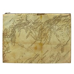 Vintage Map Background Paper Cosmetic Bag (xxl)