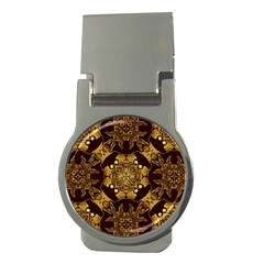Gold Black Book Cover Ornate Money Clips (round)
