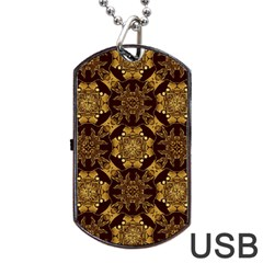 Gold Black Book Cover Ornate Dog Tag Usb Flash (one Side)