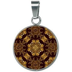 Gold Black Book Cover Ornate 20mm Round Necklace