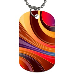 Abstract Colorful Background Wavy Dog Tag (two Sides) by Pakrebo