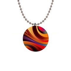 Abstract Colorful Background Wavy 1  Button Necklace