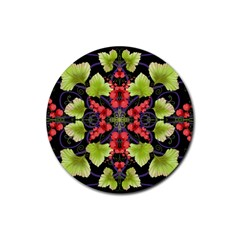 Pattern Berry Red Currant Plant Rubber Coaster (round)  by Pakrebo