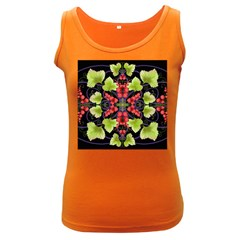 Pattern Berry Red Currant Plant Women s Dark Tank Top
