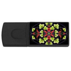 Pattern Berry Red Currant Plant Rectangular Usb Flash Drive by Pakrebo