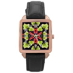 Pattern Berry Red Currant Plant Rose Gold Leather Watch  by Pakrebo