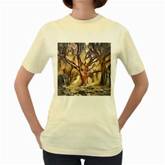 Tree Forest Woods Nature Landscape Women s Yellow T Shirt