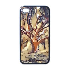 Tree Forest Woods Nature Landscape Apple Iphone 4 Case (black) by Pakrebo