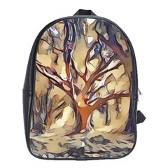 Tree Forest Woods Nature Landscape School Bag (xl) by Pakrebo
