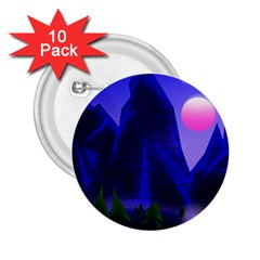 Mountains Dawn Landscape Sky 2 25  Buttons (10 Pack)
