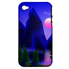 Mountains Dawn Landscape Sky Apple Iphone 4/4s Hardshell Case (pc+silicone)