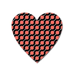 Between Circles Black And Coral Heart Magnet by TimelessFashion