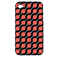 Between Circles Black And Coral Apple Iphone 4/4s Hardshell Case (pc+silicone)