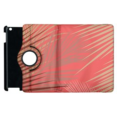 Palms Shadow On Living Coral Apple Ipad 2 Flip 360 Case by LoolyElzayat