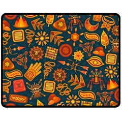 Pattern Background Ethnic Tribal Double Sided Fleece Blanket (medium)  by Pakrebo