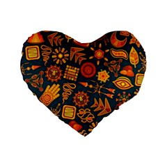 Pattern Background Ethnic Tribal Standard 16  Premium Flano Heart Shape Cushions