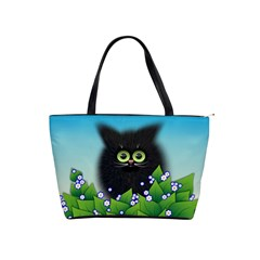 Kitten Black Furry Illustration Classic Shoulder Handbag