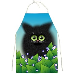 Kitten Black Furry Illustration Full Print Aprons