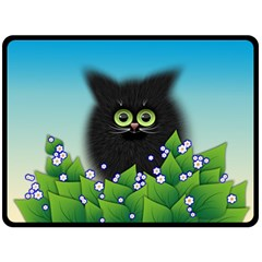 Kitten Black Furry Illustration Fleece Blanket (large)