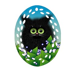 Kitten Black Furry Illustration Oval Filigree Ornament (two Sides)