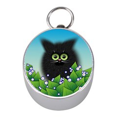 Kitten Black Furry Illustration Mini Silver Compasses