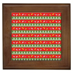 Christmas Papers Red And Green Framed Tiles