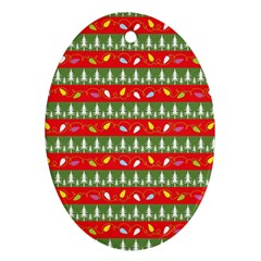 Christmas Papers Red And Green Ornament (oval)