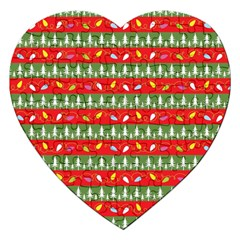 Christmas Papers Red And Green Jigsaw Puzzle (heart) by Pakrebo