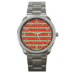 Christmas Papers Red And Green Sport Metal Watch