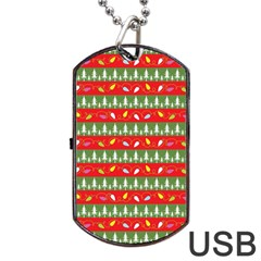 Christmas Papers Red And Green Dog Tag Usb Flash (one Side) by Pakrebo