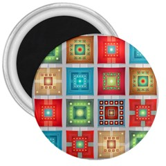 Tiles Pattern Background Colorful 3  Magnets by Pakrebo