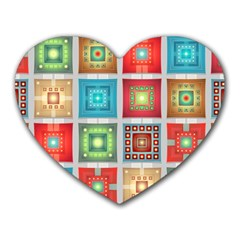 Tiles Pattern Background Colorful Heart Mousepads