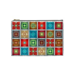 Tiles Pattern Background Colorful Cosmetic Bag (medium)