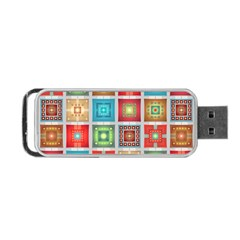 Tiles Pattern Background Colorful Portable Usb Flash (one Side)