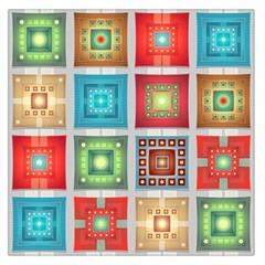 Tiles Pattern Background Colorful Large Satin Scarf (square)